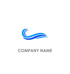 Wave water ocean blue logo vector