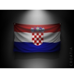waving flag croatia on a dark wall vector image