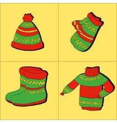 Winter collection of warm clothes vector image