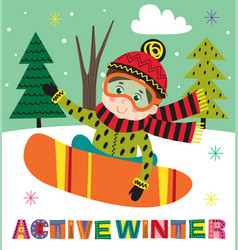 winter poster with boy on snowboard vector image