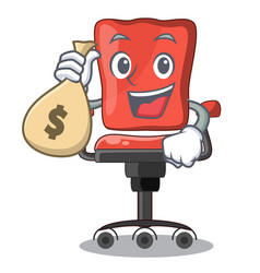 With money bag character office desk chair in vector