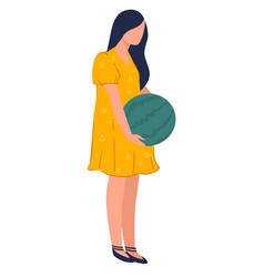 woman carrying watermelon harvesting selling vector image