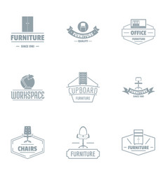 Work location logo set simple style vector