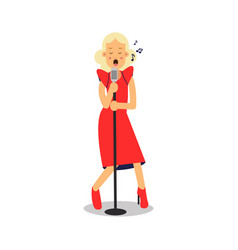 Young blonde woman in red dress singing with vector