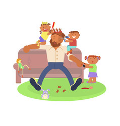 father and children vector image vector image