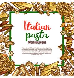 pasta sketch poster for italian cuisine vector image