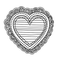 silhouette heart shape with lines pattern with vector image vector image