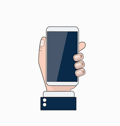business man hand holding cell smart phone thin vector image