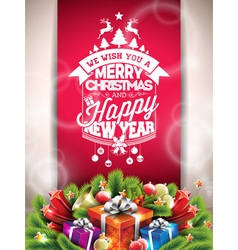 Christmas typographic design with gift boxes vector image