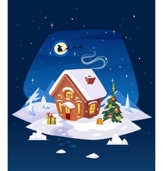 House in the forest Christmas card poster or vector image vector image