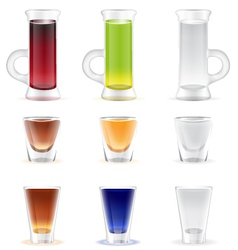 Mix of colorful alcohol shots drink vector image
