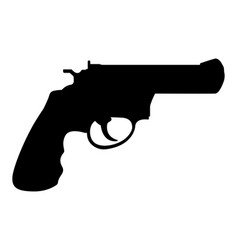 revolver gun black silhouette drawing vector image