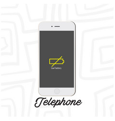 telephone mobile low battery white background vect vector image
