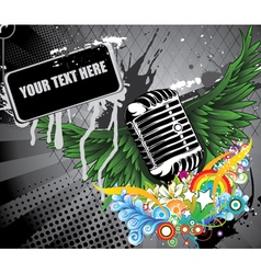 microphone with wings vector image