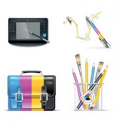 print shop icon set vector image vector image