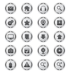 Web metal glass icons vector