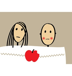 Young couple with apple in bed vector image vector image