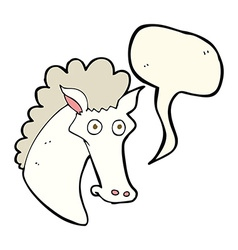 cartoon horse head with speech bubble vector image vector image
