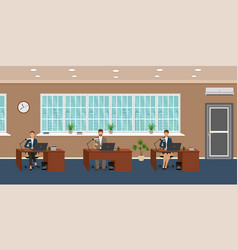 office room interior with three workplaces and vector image