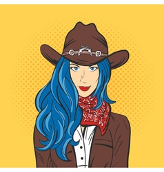 young pretty girl in cowboy hat Pop art style Wild vector image vector image
