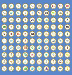100 multimedia icons set cartoon vector