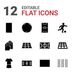 12 soccer icons vector image