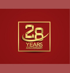 28 years anniversary with square and swoosh vector