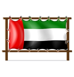 A wooden frame with the UAE flag vector image