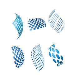 Abstract blue business and technology logos vector
