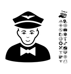Airline Steward Icon With Flying Drone Tools Bonus vector