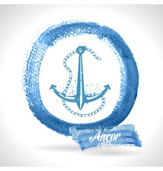 Anchor on watercolor background vector
