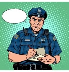 Angry policeman vector