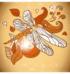 Animal Background pattern with dragonfly vector image