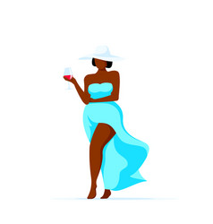 Attractive plus size woman walking with glass vector