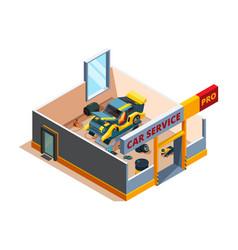 auto service isometric car garage repair details vector image