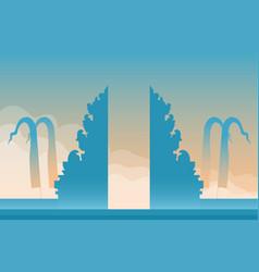 bali hindu temple gate on sky landscape vector image