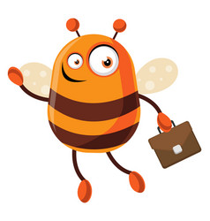 Bee going to work on white background vector