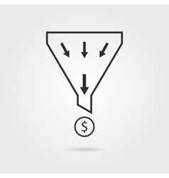 black sales funnel with coin and shadow vector image