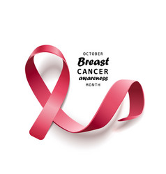 breast cancer symbol - realistic isolated satin vector image