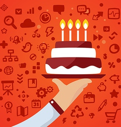 Bright male hand holds tray with big cake on vector image