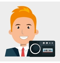 businessman with radio isolated icon design vector image