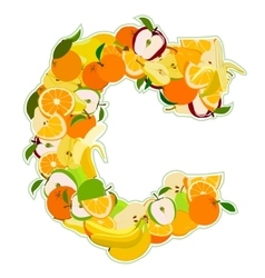 C made of fruits vector