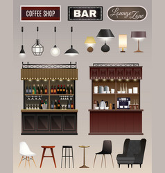 Cafe bar interior set vector