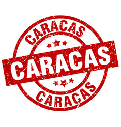Caracas red round grunge stamp vector