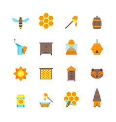 cartoon bee color icons set vector image