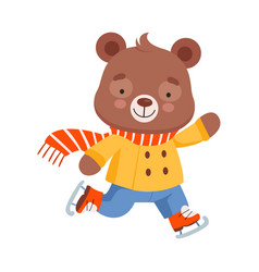 Cheerful bear character wearing warm clothes and vector
