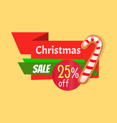 christmas sale 25 percent off tag template decor vector image