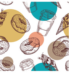 coffee shop seamless pattern retro vector image