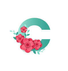 Color letter c with beautiful flowers vector