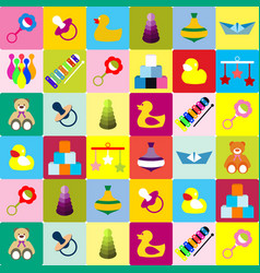 colorful pattern with different kind of toys vector image